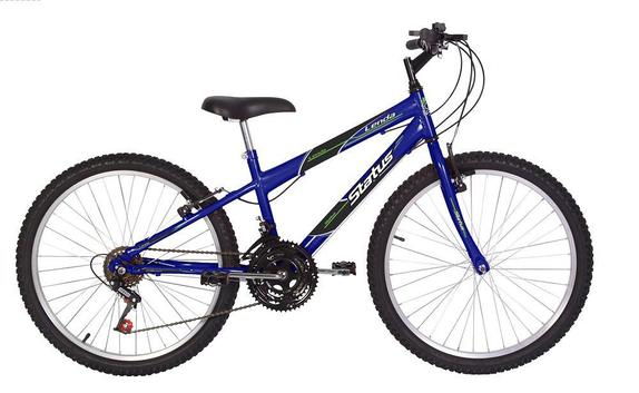 Bicicleta Status Bike Lenda Aro 24 Rígida 18 Marchas - Azul