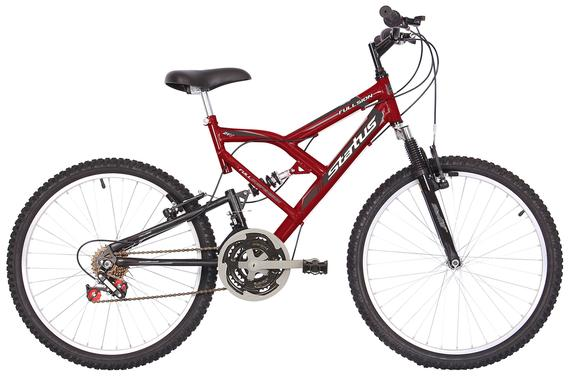 Bicicleta Status Bike Fullsion Aro 24 Full Suspensão 18 Marchas - Vermelho