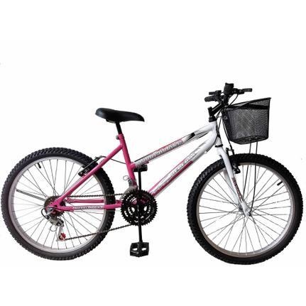 Bicicleta Depedal Bikes Mountainbike Aro 24 Rígida 1 Marcha - Branco/rosa