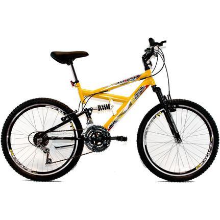 Bicicleta Dalannio Bike Max 240 Aro 24 Full Suspensão 18 Marchas - Amarelo