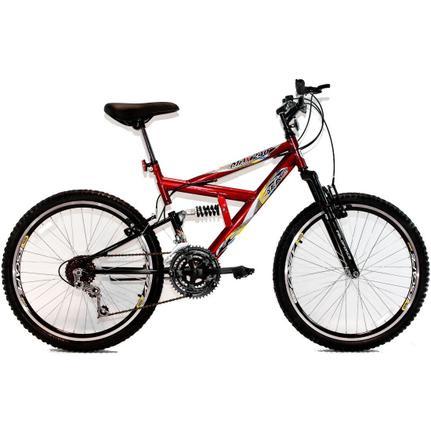 Bicicleta Dalannio Bike Max 240 Aro 24 Full Suspensão 18 Marchas - Vermelho