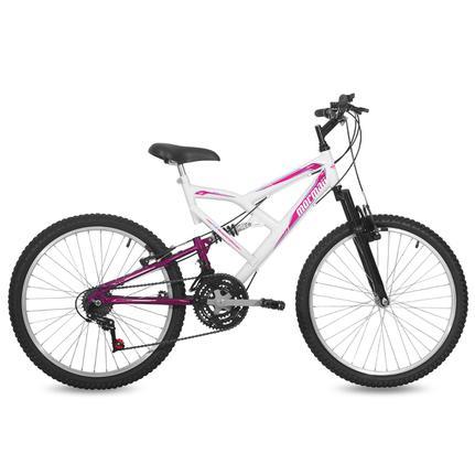 Bicicleta Mormaii Big Rider Aro 24 Full Suspensão 21 Marchas - Branco/violeta