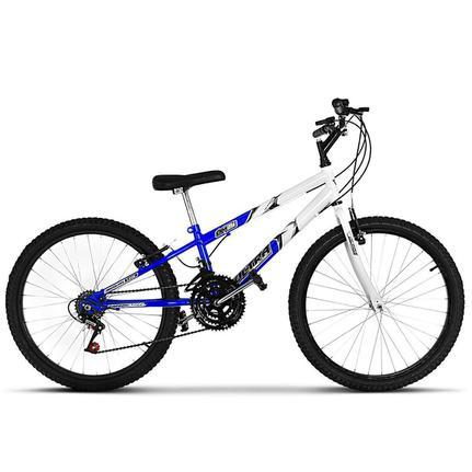 Bicicleta Ultra Bikes Pro Tork Rebaixada Aro 24 Rígida 18 Marchas - Azul/branco