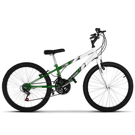 Bicicleta Ultra Bikes Pro Tork Rebaixada Aro 24 Rígida 18 Marchas - Branco/verde