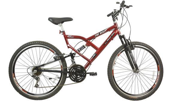 Bicicleta Mega Bike Mb 500 Aro 26 Full Suspensão 21 Marchas - Vermelho