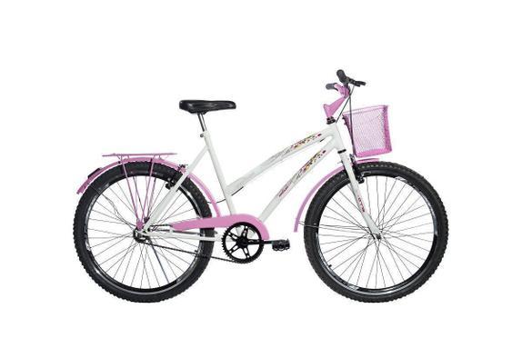 Bicicleta Ello Bike Melissa Aro 26 Rígida 1 Marcha - Branco/rosa