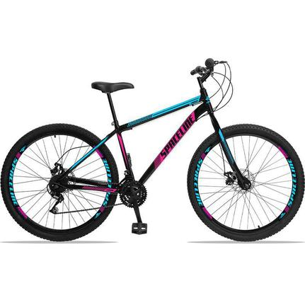 Bicicleta Spaceline Moon Disc T17 Aro 29 Rígida 21 Marchas - Azul/preto/rosa
