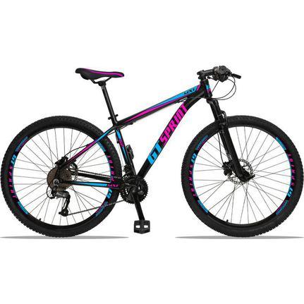 Bicicleta Gt Sprint Mx1 Disc T19 Aro 29 Susp. Dianteira 27 Marchas - Azul/preto/rosa