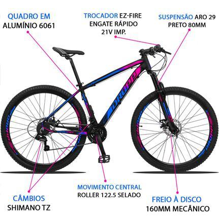 Bicicleta Dropp Z3 2020 Disc H T15.5 Aro 29 Susp. Dianteira 21 Marchas - Azul/rosa