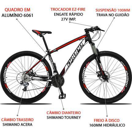 Bicicleta Dropp Z3 Disc H T21 Aro 29 Susp. Dianteira 27 Marchas - Preto/vermelho