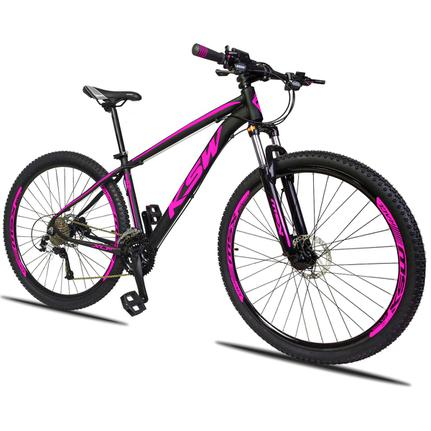 Bicicleta Ksw Xlt 2.0 Disc H T17 Aro 29 Susp. Dianteira 27 Marchas - Preto/rosa