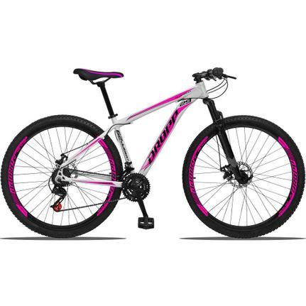 Bicicleta Dropp Aluminum Disc M T19 Aro 29 Susp. Dianteira 21 Marchas - Branco/rosa