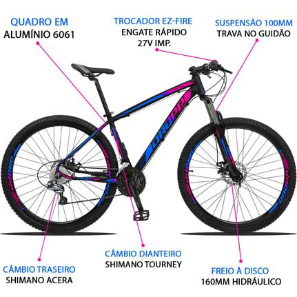 Bicicleta Dropp Z3 Disc H T17 Aro 29 Susp. Dianteira 27 Marchas - Azul/rosa