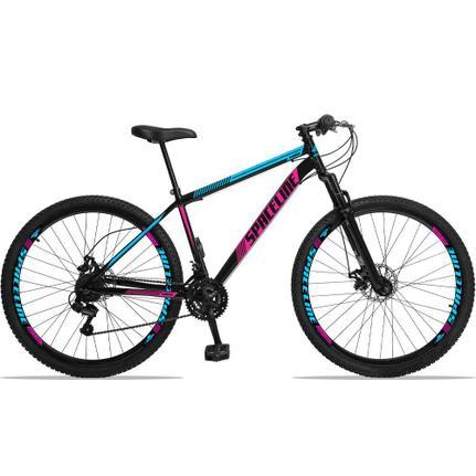 Bicicleta Spaceline Moon Disc T17 Aro 29 Susp. Dianteira 21 Marchas - Azul/preto/rosa
