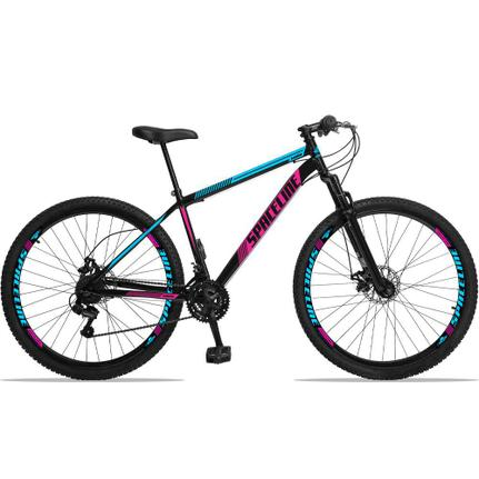 Bicicleta Spaceline Moon Disc T19 Aro 29 Susp. Dianteira 21 Marchas - Azul/preto/rosa