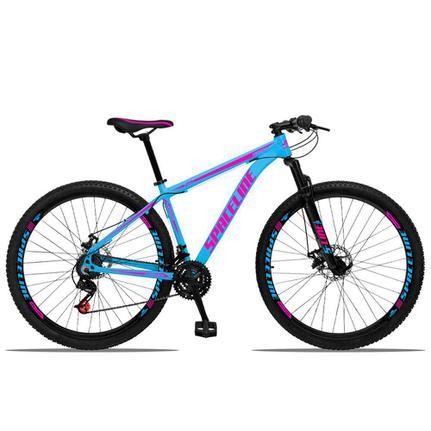 Bicicleta Spaceline Orion Disc T19 Aro 29 Susp. Dianteira 21 Marchas - Azul/rosa