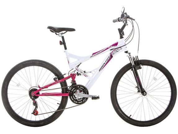 Bicicleta Houston Vivid Aro 26 Full Suspensão 21 Marchas - Branco/rosa