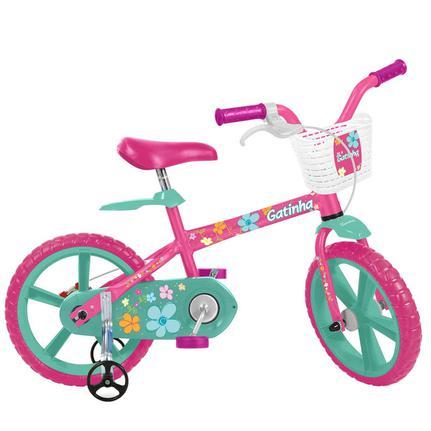 Bicicleta Bandeirante Gatinha Aro 14 Rígida 1 Marcha - Azul/rosa