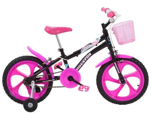 Bicicleta Houston Tina Aro 16 Rígida 1 Marcha - Preto/rosa