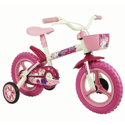 Bicicleta Track&bikes Arco-íris Aro 12 Rígida 1 Marcha - Branco/rosa