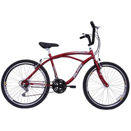 Bicicleta Dalannio Bike Beach Aro 26 Rígida 18 Marchas - Vermelho