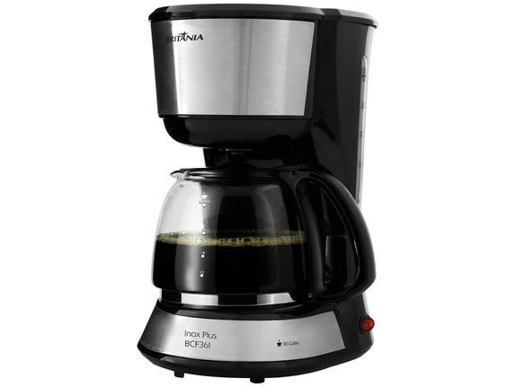 Cafeteira Elétrica Britania Inox Plus Preto 110v - Bcf36i