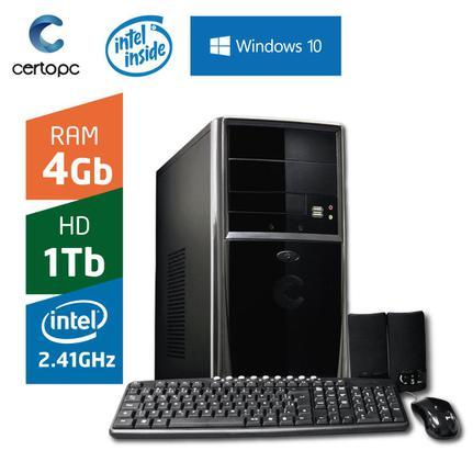 Desktop Certo Pc Fit031 Celeron J1800 2.41ghz 4gb 1tb Intel Hd Graphics Windows 10 Sem Monitor