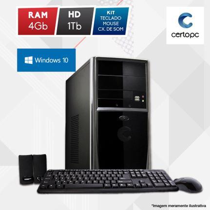 Desktop Certo Pc Fit1101 Celeron J1800 2.41ghz 4gb 1tb Intel Hd Graphics Windows 10 Pro Sem Monitor