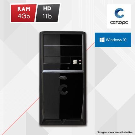 Desktop Certo Pc Fit1029 Celeron J1800 2.41ghz 4gb 1tb Intel Hd Graphics Windows 10 Pro Sem Monitor