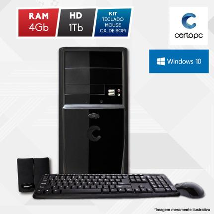 Desktop Certo Pc Fit1031 Celeron J1800 2.41ghz 4gb 1tb Intel Hd Graphics Windows 10 Pro Sem Monitor