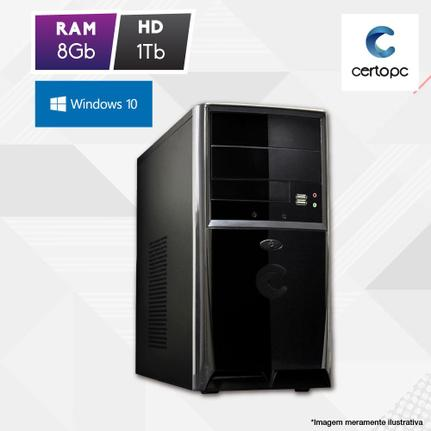 Desktop Certo Pc Fit1107 Celeron J1800 2.41ghz 8gb 1tb Intel Hd Graphics Windows 10 Sem Monitor