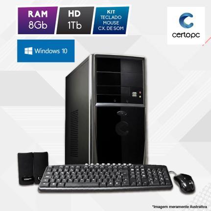 Desktop Certo Pc Fit1109 Celeron J1800 2.41ghz 8gb 1tb Intel Hd Graphics Windows 10 Pro Sem Monitor
