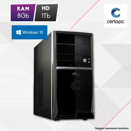 Desktop Certo Pc Fit1077 Celeron J1800 2.41ghz 8gb 1tb Intel Hd Graphics Windows 10 Pro Sem Monitor