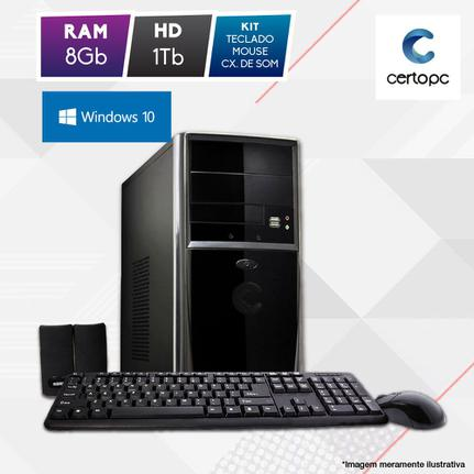 Desktop Certo Pc Fit1079 Celeron J1800 2.41ghz 8gb 1tb Intel Hd Graphics Windows 10 Sem Monitor