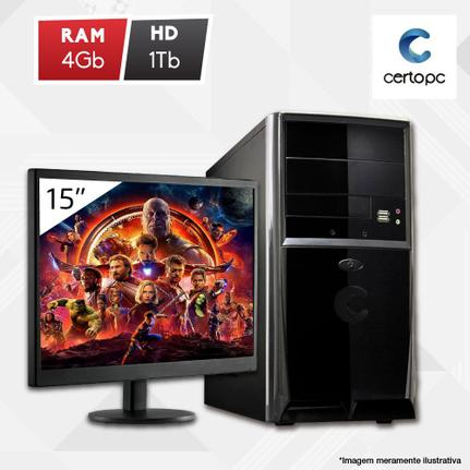 Desktop Certo Pc Fit1033 Celeron J1800 2.41ghz 4gb 1tb Intel Hd Graphics Linux Com Monitor