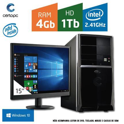 Desktop Certo Pc Fit037 Celeron J1800 2.41ghz 4gb 1tb Intel Hd Graphics Windows 10 Com Monitor