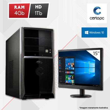 Desktop Certo Pc Fit1037 Celeron J1800 2.41ghz 4gb 1tb Intel Hd Graphics Windows 10 Pro Com Monitor
