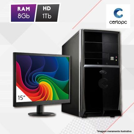 Desktop Certo Pc Fit1081 Celeron J1800 2.41ghz 8gb 1tb Intel Hd Graphics Linux Com Monitor