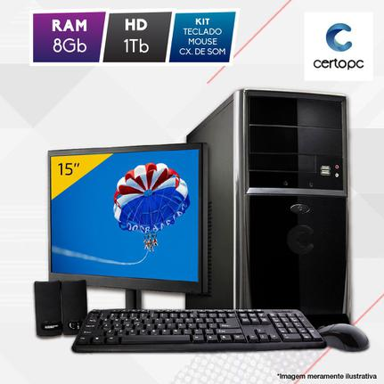 Desktop Certo Pc Fit1083 Celeron J1800 2.41ghz 8gb 1tb Intel Hd Graphics Linux Com Monitor