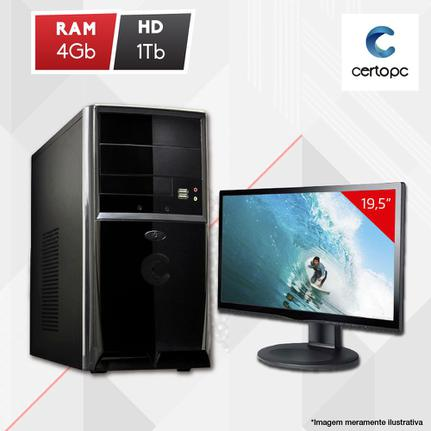 Desktop Certo Pc Fit1041 Celeron J1800 2.41ghz 4gb 1tb Intel Hd Graphics Linux Com Monitor