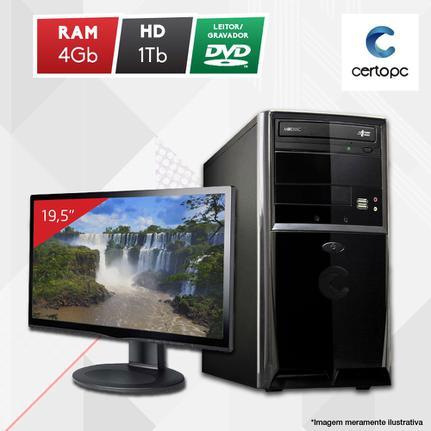 Desktop Certo Pc Fit1042 Celeron J1800 2.41ghz 4gb 1tb Intel Hd Graphics Linux Com Monitor
