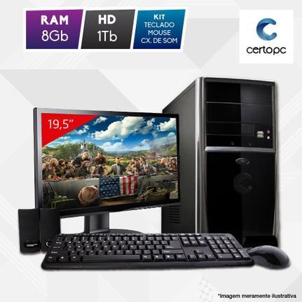 Desktop Certo Pc Fit1113 Celeron J1800 2.41ghz 8gb 1tb Intel Hd Graphics Windows 10 Pro Com Monitor