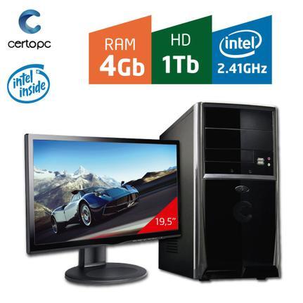 Desktop Certo Pc Fit041 Celeron J1800 2.41ghz 4gb 1tb Intel Hd Graphics Linux Com Monitor