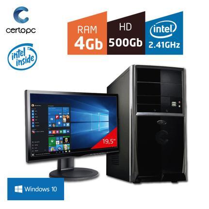 Desktop Certo Pc Fit100 Celeron J1800 2.41ghz 4gb 500gb Intel Hd Graphics Windows 10 Com Monitor