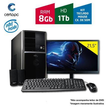 Desktop Certo Pc Fit120 Celeron J1800 2.41ghz 8gb 1tb Intel Hd Graphics Linux Com Monitor