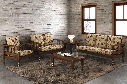 1a407c0c73459b Conjunto de sofá de madeira maciça com almofadas 3 e 2 e 1 e mesa de centro  - Belini