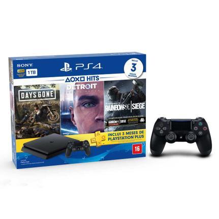 Console Playstation 4 Slim Hits Bundle 5 1tb + 3 Jogos Diversos + 3 Meses