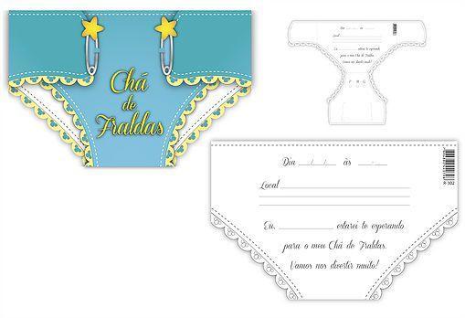 Convite Chá De Bebê Fralda Azul Kid Art Convites Para Festa