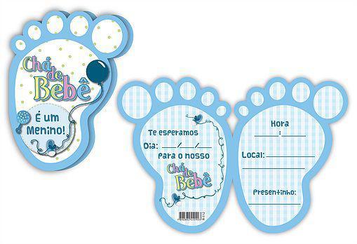 Convite Chá De Bebê Pezinho Azul Kid Art Convites Para Festa
