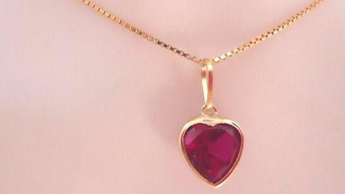 Imagem de Cordão Corrente Veneziana 45cm Pingente Coração Vermelho Rubi Ouro  18k 750 bf2f343e92